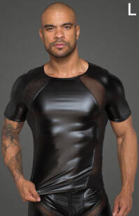 H056 - L - Men's T-shirt made of powerwetlook with 3D net inserts