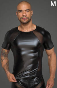 H056 - M - Men's T-shirt made of powerwetlook with 3D net inserts