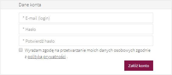 formularz zakładania konta