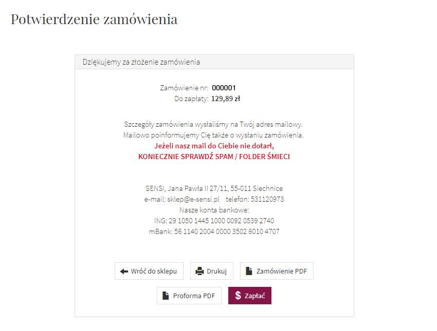 e-sensi potwierdzenie zamówienia przykład